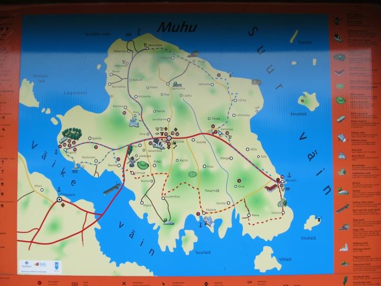 Karte der Insel am Parkplatz